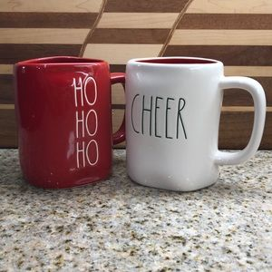 Rae Dunn HO HO HO and CHEER Christmas Mugs NEW